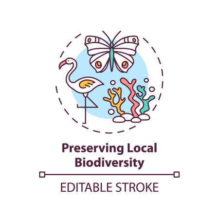 Preserving local biodiversity concept icon. Green hotel features. Approaches to regulate human behavior idea thin line illustration. Vector isolated outline RGB color drawing. Editable stroke