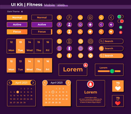 Fitness UI elements kit. Running app settings and options isolated vector icon, bar and dashboard template. Web design widget collection for mobile application with dark theme interface