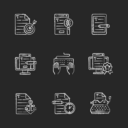 Writing SEO text chalk white icons set on black background. Urgent copywriting services. Professional journalist. Writing text. Content for online marketing. Isolated vector chalkboard illustrations Vetores