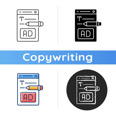 Writing text ads icon. Copywriting services for e commerce. Engaging content for online marketing. Writing commercial text. Linear black and RGB color styles. Isolated vector illustrations