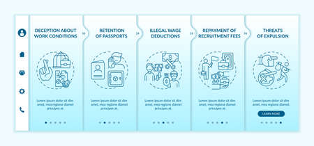Migrant workers rights violations onboarding vector template. Responsive mobile website with icons. Web page walkthrough 5 step screens. Discrimination color concept with linear illustrations Vetores
