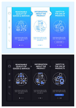 Key buyer rights onboarding vector template. Responsive mobile website with icons. Web page walkthrough 3 step screens. Right for safety, choice night and day mode concept with linear illustrations Vector Illustratie