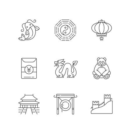 Oriental culture linear icons set. Koi fish. Bagua, hong bao. Loong dragon. Lunar New Year traditions. Customizable thin line contour symbols. Isolated vector outline illustrations. Editable stroke