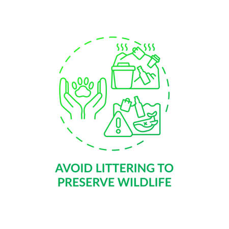 Avoid littering to preserve wildlife concept icon. Sustainable tour tips. People damaging local ecosystems environment idea thin line illustration. Vector isolated outline RGB color drawing