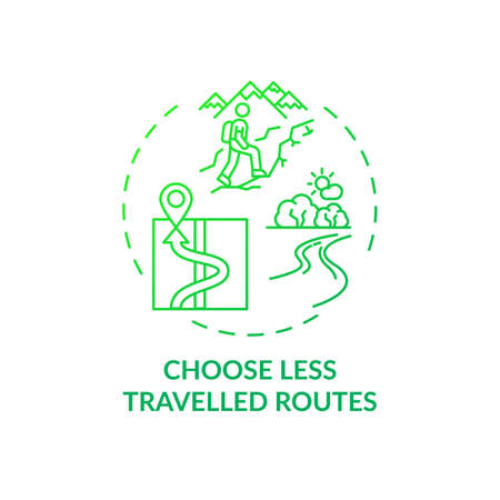 Choose less traveled routes concept icon. Sustainable tourism ideas. Beautiful traveling routes for tourist idea thin line illustration. Vector isolated outline RGB color drawing Vector Illustration