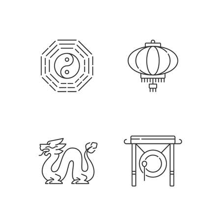 Lunar New Year attributes linear icons set. Bagua, feng shui. Paper lantern. Loong dragon. Chinese gong. Customizable thin line contour symbols. Isolated vector outline illustrations. Editable stroke
