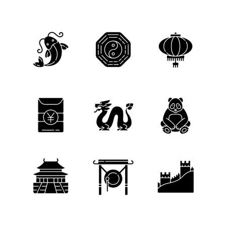 Oriental culture black glyph icons set on white space. Koi fish. Bagua, hong bao. Chinese paper lantern. Loong dragon. Lunar New Year traditions. Silhouette symbols. Vector isolated illustration