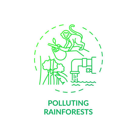 Polluting rainforests concept icon. Green tourism challenges. People decreasing amount of trees in forests on planet idea thin line illustration. Vector isolated outline RGB color drawing