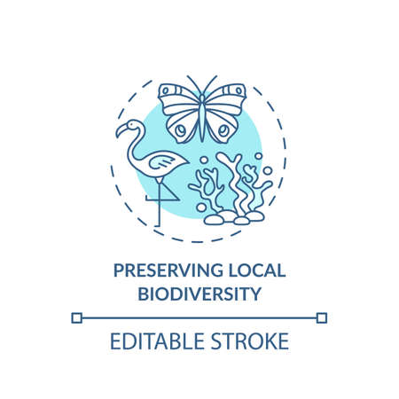 Preserving local biodiversity concept icon. Green hotel features. Plan to regulate human behavior idea thin line illustration. Vector isolated outline RGB color drawing. Editable stroke