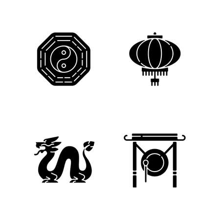 Lunar New Year attributes black glyph icons set on white space. Bagua, feng shui. Paper lantern. Loong dragon. Chinese gong. Oriental culture. Silhouette symbols. Vector isolated illustration