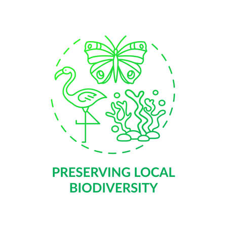 Preserving local biodiversity concept icon. Green hotel features. Approaches to regulate human everyday behavior idea thin line illustration. Vector isolated outline RGB color drawing