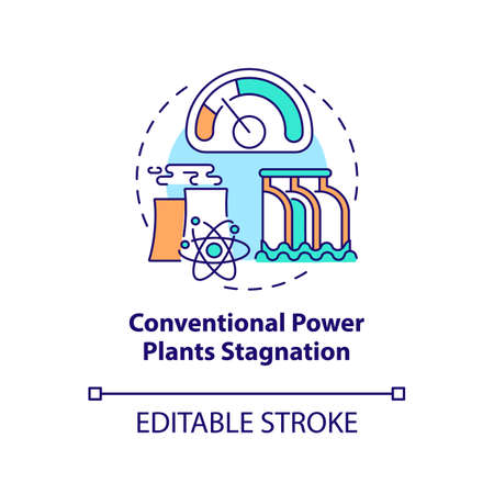 Conventional power plants stagnation concept icon. Industry trend idea thin line illustration. Decline in electricity production efficiency. Vector isolated outline RGB color drawing. Editable stroke