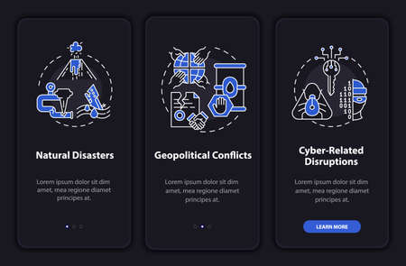 Power secure threats onboarding mobile app page screen with concepts. Cyber-related problems walkthrough 3 steps graphic instructions. UI, UX, GUI vector template with linear night mode illustrations