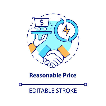 Reasonable price concept icon. Energy security component idea thin line illustration. Stimulating global economy. Cheap operating costs. Vector isolated outline RGB color drawing. Editable stroke