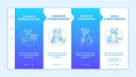 Consumer safeguard onboarding vector template. Responsive mobile website with icons. Web page walkthrough 4 step screens. Claims tribunal, client affairs agency color concept with linear illustrations Vecteurs