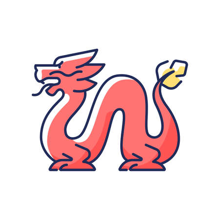 Loong dragon RGB color icon. Ancient Chinese traditions. Mythological creature. Lunar New Year celebration festival decoration. Feng shui. Red legendary monster. Isolated vector illustration