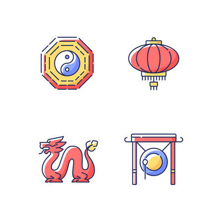Lunar New Year attributes RGB color icons set. Bagua, feng shui. Paper lantern. Loong dragon. Chinese gong. Oriental culture. Traditions and history of China. Isolated vector illustrations