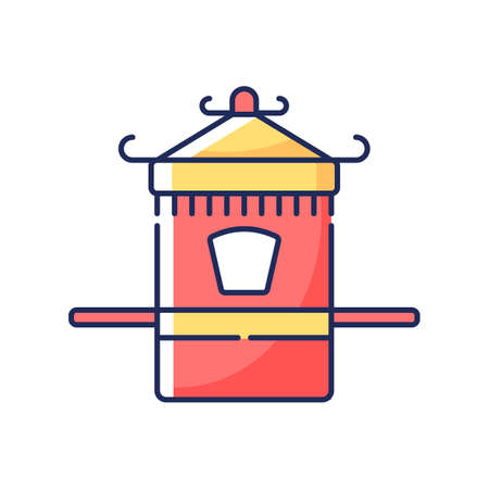 Chinese sedan chair RGB color icon. Traditional wedding ceremony. Ancient vehicle for transportation. Eastern folk item. Asian culture. Oriental history. Isolated vector illustration