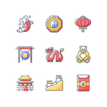 Oriental culture RGB color icons set. Koi fish. Bagua and hong bao. Chinese red paper lantern. Loong dragon. Lunar New Year traditions. History of China. Isolated vector illustrations