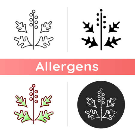 Ragweed pollen icon. Blooming ambrosia. Cause of allergic reaction. Seasonal dangerous allergen. Allergy for plant. Linear black and RGB color styles. Isolated vector illustrations