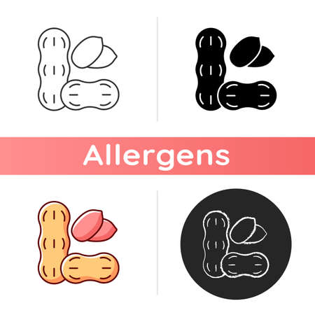Peanut icon. Nut for nourishment. Nutrient diet, food ingredient. Protein dense foodstuff. Common allergen, cause of allergy. Linear black and RGB color styles. Isolated vector illustrations Vetores