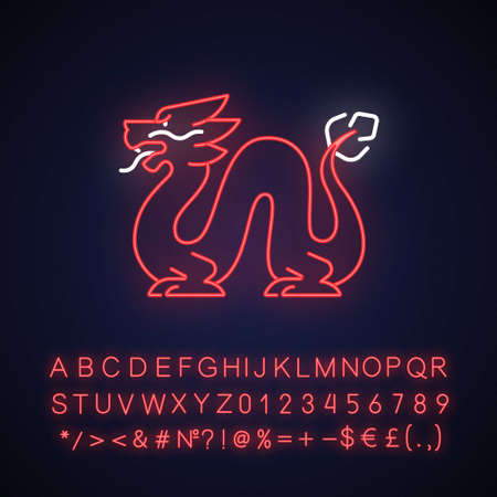 Loong dragon neon light icon. Ancient Chinese traditions. Mythological creature. Feng shui. Outer glowing effect. Sign with alphabet, numbers and symbols. Vector isolated RGB color illustration