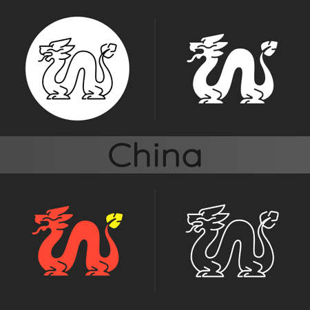 Loong dragon dark theme icon. Ancient Chinese traditions. Mythological creature. Lunar New Year festival. Feng shui. Linear white, simple glyph and RGB color styles. Isolated vector illustrations