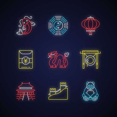 Oriental culture neon light icons set. Koi fish. Bagua, hong bao. Chinese lantern. Loong dragon. Lunar New Year traditions. Signs with outer glowing effect. Vector isolated RGB color illustrations