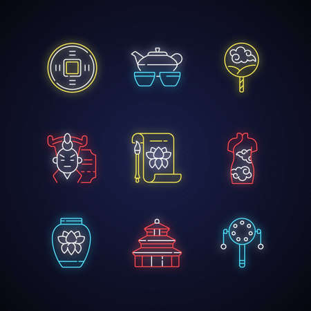 Chinese traditions neon light icons set. Ancient coin. Tea ceremony. Paper fan. Cantonese opera. Temple of Heaven. Signs with outer glowing effect. Vector isolated RGB color illustrations