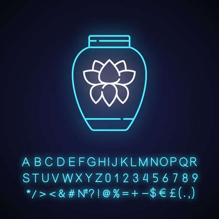 Chinese porcelain neon light icon. Traditional asian ceramics. Ancient oriental pottery. Outer glowing effect. Sign with alphabet, numbers and symbols. Vector isolated RGB color illustration