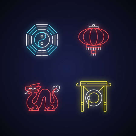 Lunar New Year attributes neon light icons set. Bagua, feng shui. Paper lantern. Loong dragon. Chinese gong. Oriental culture. Signs with outer glowing effect. Vector isolated RGB color illustrations