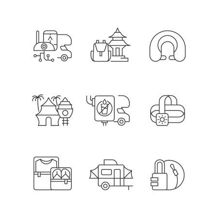 Roadtrip linear icons set. Travel equipment. Spiritual nomad. Resort for tourists. Recreational getaway. Customizable thin line contour symbols. Isolated vector outline illustrations. Editable stroke