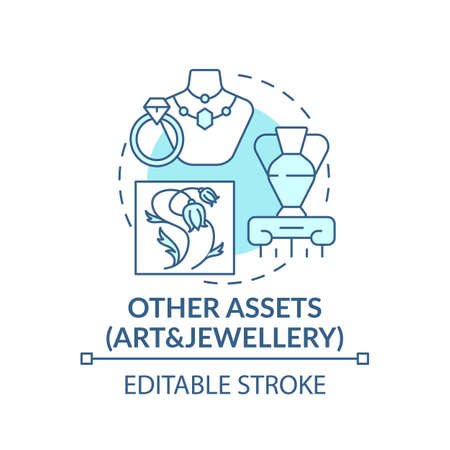 Art and jewelery assets concept icon. Comprehensive wealth plan idea thin line illustration. Precious materials. Paintings, sculptures. Vector isolated outline RGB color drawing. Editable stroke