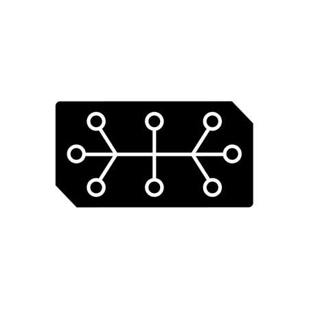 Electrical computer parts black glyph icon. Parts in electronic system used to affect electrons or their associated fields. Silhouette symbol on white space. Vector isolated illustration Vector Illustration