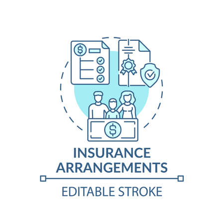 Insurance arrangements concept icon. Comprehensive wealth planning element idea thin line illustration. Savings. Easing financial burdens. Vector isolated outline RGB color drawing. Editable stroke