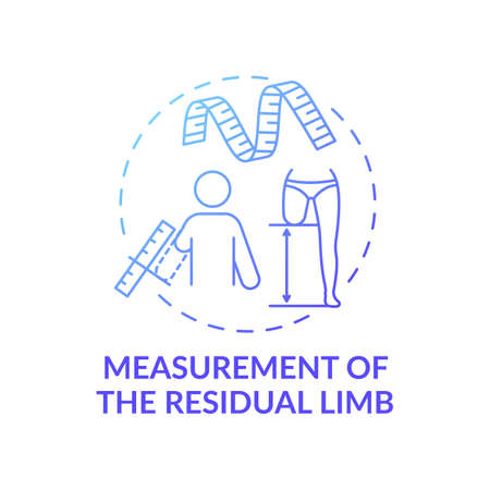 Residual limb measurement concept icon. Manufacture idea thin line illustration. Impact on functional ability. Approach for matching patients to prostheses. Vector isolated outline RGB color drawing