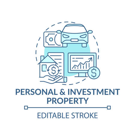 Personal and investment property concept icon. Comprehensive wealth plan idea thin line illustration. Making profit. Passive income streams. Vector isolated outline RGB color drawing. Editable stroke