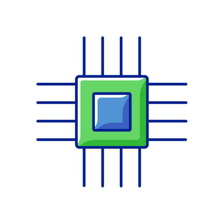 Electronic micro parts RGB color icon. Small electronic components to make modern smart systems circuit boards. Creating technologies. Isolated vector illustration
