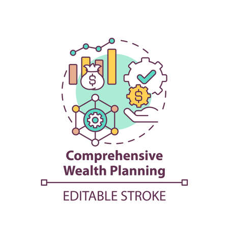 Comprehensive wealth planning concept icon. Wealth management idea thin line illustration. Cash-flow reports generation. Income and expenses. Vector isolated outline RGB color drawing. Editable stroke 向量圖像