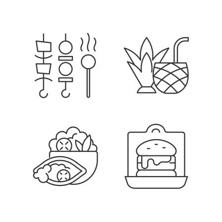 Takeaway and delivery option linear icons set. Shish kebabs and meat pops. Coconut cocktail. Burrito. Customizable thin line contour symbols. Isolated vector outline illustrations. Editable stroke