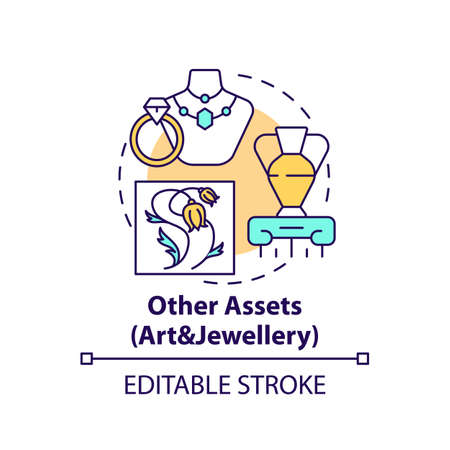 Art and jewelery assets concept icon. Comprehensive wealth planning idea thin line illustration. Physical objects. Original art works. Vector isolated outline RGB color drawing. Editable stroke