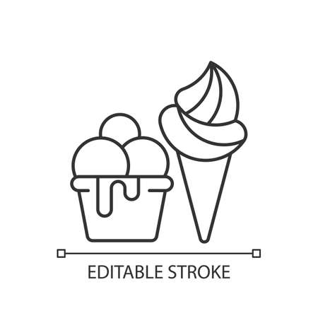 Ice cream to go linear icon. Frozen treats delivery. Gelato, sorbet. Frozen dessert with flavors. Thin line customizable illustration. Contour symbol. Vector isolated outline drawing. Editable stroke Vektorgrafik