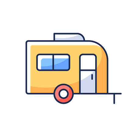 Caravan RGB color icon. Trailer for nomads lifestyle. Roadtrip transportation. Camping trip for traveler. Camper bus. Trailer for trip during summer vacation. Isolated vector illustration
