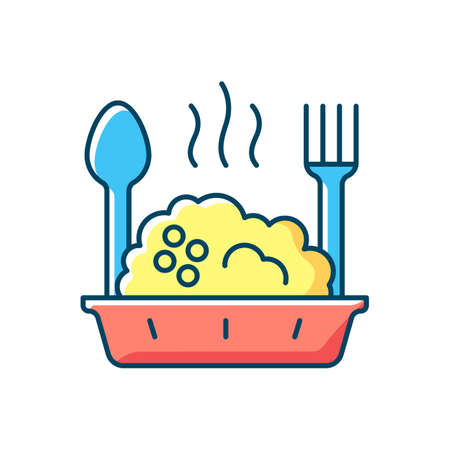 Takeaway porridge bowl RGB color icon. Balanced, filling breakfast. Takeout oat cuisine. Carbohydrates, protein and fiber mix. Restoring healthy gut bacteria. Isolated vector illustration