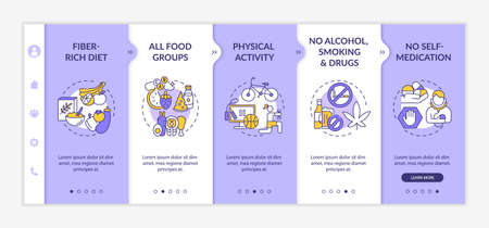 Hepatic health requirements onboarding vector template. Responsive mobile website with icons. Web page walkthrough 5 step screens. Fiber-rich diet, activity color concept with linear illustrations