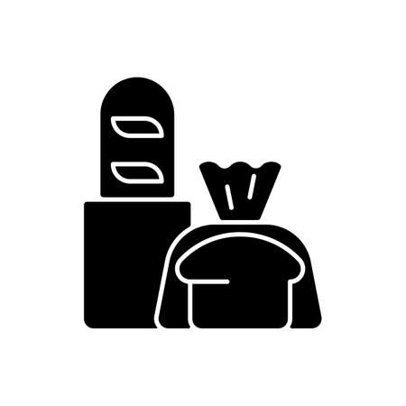 Fresh bread takeout black glyph icon. Bakery products. Pastries. Bread loaves, baguettes, toasts. Baked goods. Muffins and scones. Silhouette symbol on white space. Vector isolated illustration