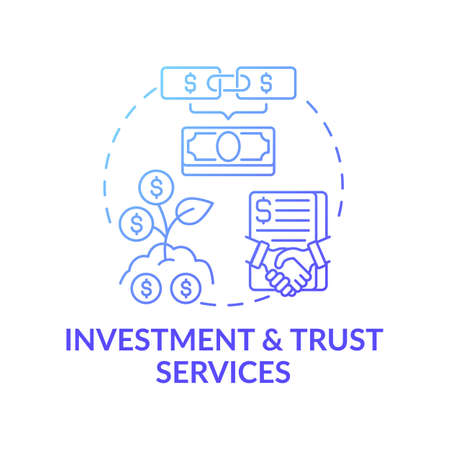 Investment and trust services concept icon. Wealth advisory service idea thin line illustration. Banking, budgeting. Investment and asset management. Vector isolated outline RGB color drawing