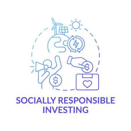 Socially responsible investing concept icon. Wealth advisory idea thin line illustration. Making positive sustainable impact. Green, ethical investing. Vector isolated outline RGB color drawing