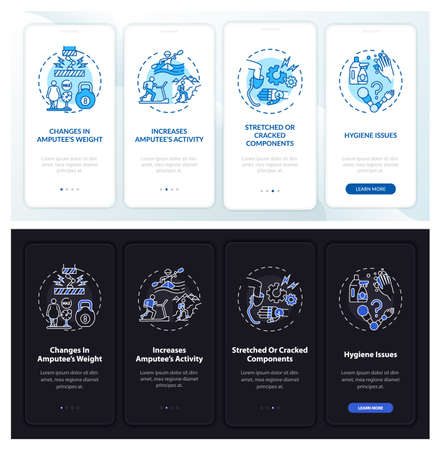 Prosthesis restore onboarding mobile app page screen with concepts. Cracked components walkthrough 4 steps graphic instructions. UI, UX, GUI vector template with linear night mode illustrations
