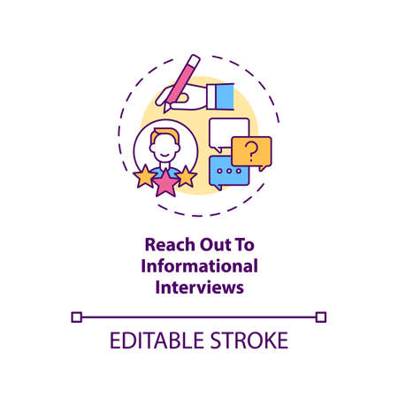 Reach out to informational interviews concept icon. Get personal idea thin line illustration. Find contacts in career fields of interest. Vector isolated outline RGB color drawing. Editable stroke